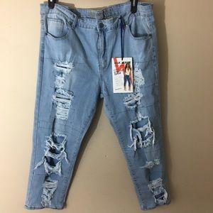 VIP Plus Size Ultra Crop Jeans Destroyed SZ 23/24